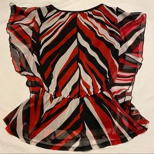 Cocomo Red Black Boatneck with Ruffle Sleeve Small